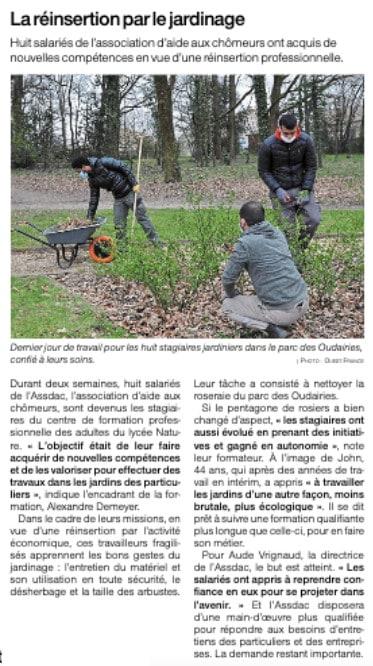 Formation paysagistes Lycée Nature ASSDAC